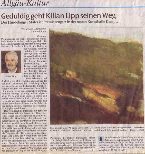 Künstler Maler Az auszüge in der presse über den kunstmaler kilian lipp kilianlipp de